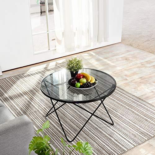 HOMYCASA Runder Tisch aus gehärtetem Glas, Beistelltisch, Sofa-Tisch, Couchtisch mit Haarnadel-Beinen für Wohnzimmer, Temperiertes Glas, Grau, 80 * 80 * 48cm