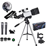 MUSJOS Newest Telescope for Adults Kids AstronomyBeginners, 70mm Aperture 400mm AZ Mount Astronomical Refracting Portable Travel Telescope with Phone Adapter/Finder Scope Optics/Wireless Remote