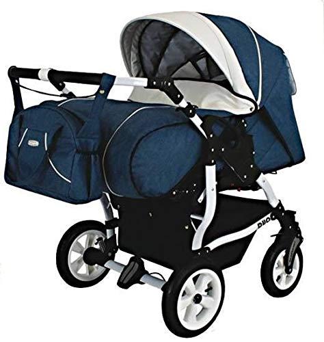 Adbor Duo Spezial Zwillingskinderwagen mit Babyschalen, Zwillingswagen, Zwillingsbuggy Farbe D-8 blau/weiss