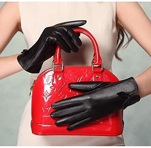 Guantes de las mujeres de la zalea los guantes de la pantalla táctil guantes de cuero hecha a mano del cuero genuino Calentar la curva de piel de cordero caliente del invierno de la pelusa suave Mujer