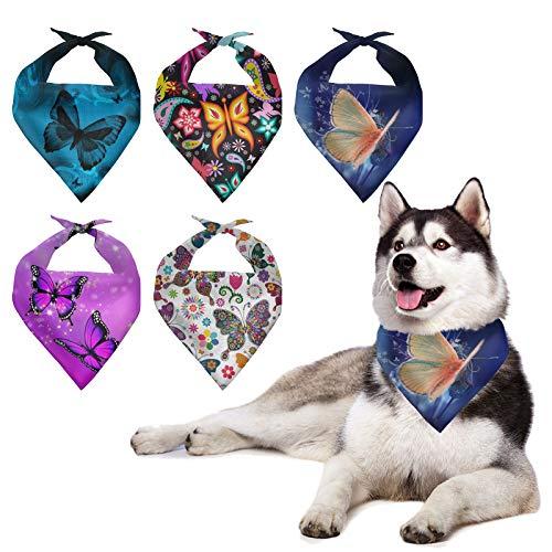 HUGS IDEA Juego de 5 bandanas para perro, diseño de mariposa, colorido de cumpleaños, bandana, triángulo, bufanda para mascotas, accesorios para fiestas o festivales