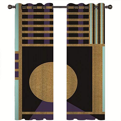 CYHLG Vorhang Blickdicht Verdunkelungsvorhang - Goldene Tür -,220x215cm(HxB), Lärmschutzvorhang Gardinen mit ösen Vorhänge Schlaufen für gardinen Wohnzimmer Schlafzimmer - 2er Set