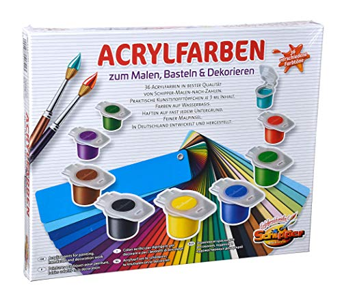 Schipper 605190741 - Malen nach Zahlen - Acrylfarben Set mit 36 Farben, zum Malen, Basteln und Dekorieren