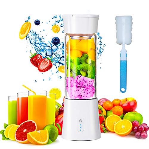 Mini Portable Blender, USB Rechargeable Electric Juice Extractor Machines, 380ml Personal Size Baby Food Smoothie Milkshake Maker Fruit Mixer Juicer Bottle Cup Perfect for Home & Travel White
