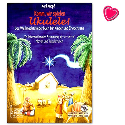 ¡Vamos, jugaremos ukelele! Bonitas canciones de Navidad para ukelelen, sin y con notas de conocimiento, libro de partituras con clip en forma de corazón