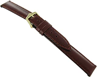 16mm Hirsch Anubi Brown Genuine Leather Stitched Padded Long Watch Band