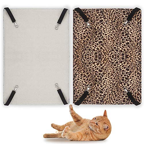 EONMIR 2Pack Cat Hammock for Cage, Soft Pet Bed Fit Ferret, Kitten, Puppy, Small Dog (Leopard)