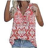Camiseta de tirantes para mujer, cuello en V, sin mangas, plisada, camiseta de tirantes rojo S