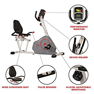 Sunny Health & Fitness Magnetic Recumbent Exercise Bike with Silent Belt Drive, Performance Monitor, BMI and Body Fat Calculator, 275 LB Max Weight | SF-RB4953