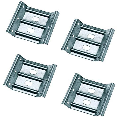 Gedotec Winkelbeschlag Tisch-Zargenverbinder Tischbein-Beschlag für Holz-Möbel & Bänke   Höhe 80 mm   Stahl verzinkt   Winkel-Verbinder für eine stabile Konstruktion   4 Stück - Möbelverbinder Metall