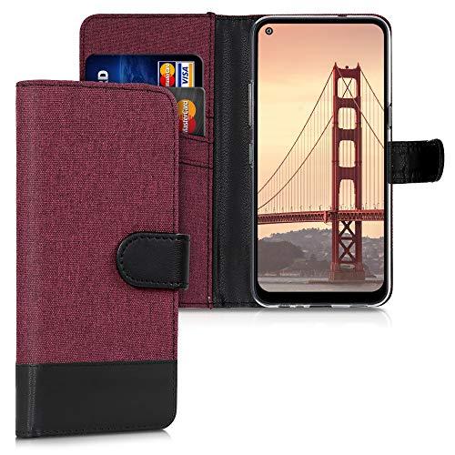 kwmobile Hülle kompatibel mit LG K61 - Kunstleder Wallet Hülle mit Kartenfächern Stand in Dunkelrot Schwarz
