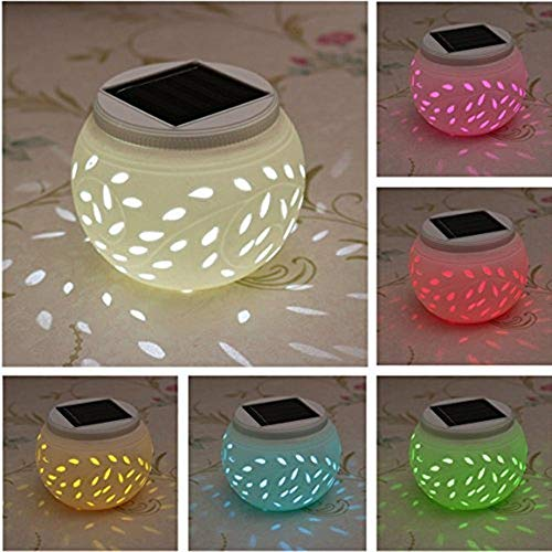 GYC Solar Table Lamp, Waterproof Color Changing LED Solar Light Garden Ceramic Crystal Glass Ball Table Night Light Indoor/Outdoor Decorations for Christmas Party Deck Patio Yard (Leaf)