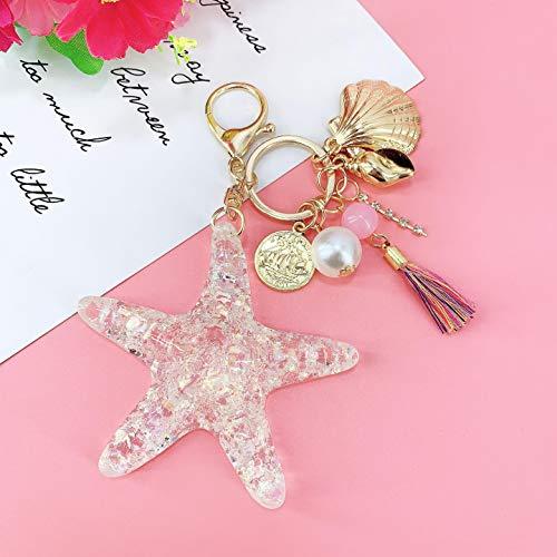 Llavero de fantasía con diseño de estrella de mar y perlas de mar y cristal de pentagrama para mujer, llavero de aleación de coche, colgante de joyería (color blanco transparente)