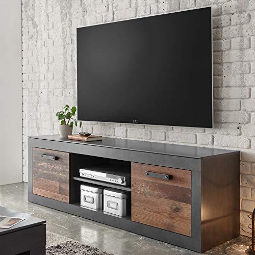 Lomadox TV-Lowboard im Industrial-Design in Old Mix Dekor mit Matera grau - B/H/T ca.: 153/51/43 cm