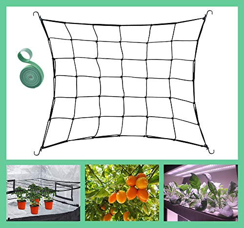 JUCHI Flexible Trellis Netting for 4x4FT Grow Tent Elastic Trellis Netting with 6 Hooks amp 78 Inch Garden Ties for Grow Tents Fits for 2x4FT and 5x5FT Garden Netting for Fruits Flowers Scrog
