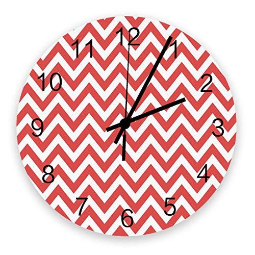 Nowoczesny zegar ścienny, vintage regularny zygzakowy wzór z żakietem, duże zegary ścienne (ciche) do salonu / łazienki / kuchni, zasilanie bateryjne wewnątrz na zewnątrz drewniane okrągłe ściany dekoracyjne, 25 cm, czerwony biały