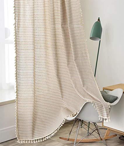 Deamos - Tende in stile boho, in cotone e lino, con nappa, motivo a righe, per soggiorno, camera da letto, 1 pezzo, 150 x 240 cm