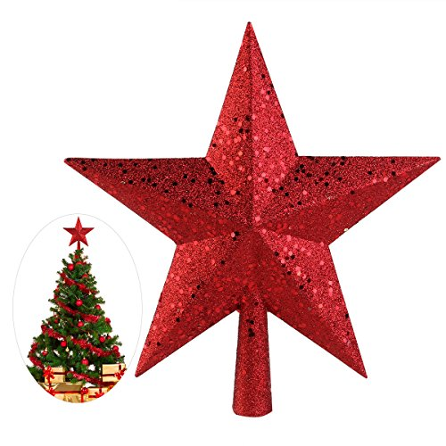 NICEXMAS 9 inch Beautiful Red Glitter Tree Top Star - Christmas Tree Topper Decoration