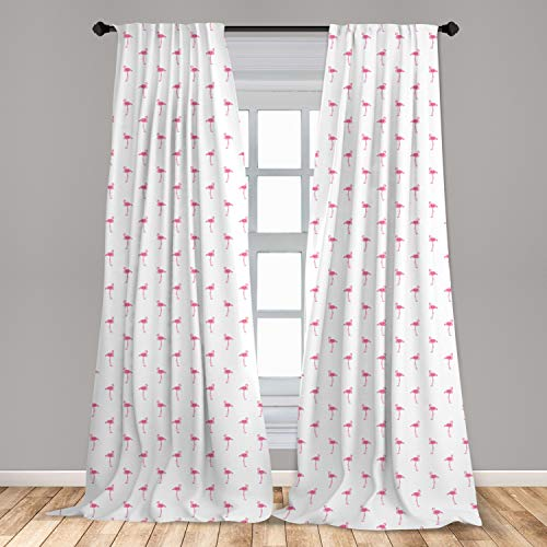 """Lunarable Flamingo Curtains, Flamingos Pattern with Watercolor Painting Effect Simple Design Art Print, Window Treatments 2 Panel Set for Living Room Bedroom Decor, 56"""" x 84"""", White Pink"""