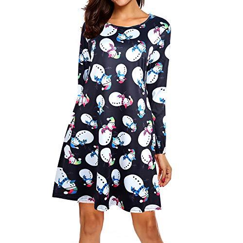 MRULIC Damen Blusenkleid Abendkleid Knielang Kleider Weihnachts Winterrock Festliches Kleid Mehrfarbig Verfügbar Schön Neujahr Herbst und Winter Kleid(A-Schwarz,EU-36/CN-M)