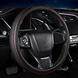 Men Fashion Black Carbon Fiber and Faux Leather Steering Wheel Cover for Car, Trucks, SUVs, 15 Inch Standard Steering Wheel Cover for Automotive Interior Decoration Sports