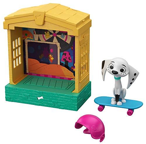 Disney 101 Dalmatian Street Casita para perros con figura Dolly y accesorios, juguete niños +5 años (Mattel GBM28)
