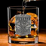 English Pewter Company Vintage Years 1971 50th Birthday or Anniversary Old Fashioned Whisky Rocks Glass Tumbler - Unique Gift Idea For Men [VIN003]