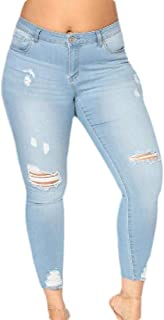 Women's Plus Size Pull-On Broken Holes Distressed Stretch Pants Denim Jeans