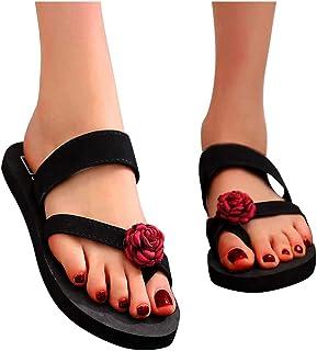 Fudule Women's Comfy Flat Sandal Casual Summer Flip Flops Slippers Flower Slip-on Sandals Beach Travel Comfortable Shoes