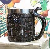 Ebros Gift Winged Scarab Beetle And Eye Of Horus Amulet Wedjat Mug Drink Coffee Cup With Egyptian Hieroglyphs And Uraeus Cobra Handle Gods Of Egypt Themed Decors