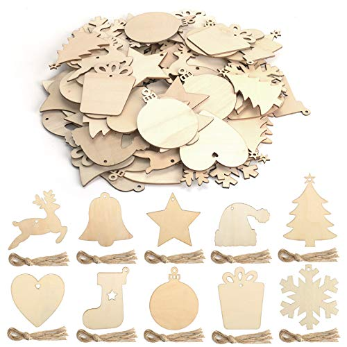 KATELUO 100 Pezzi Decorazioni Natalizie in Legno, Natale Ciondolo in Legno, Decorazioni Albero di Natale in Legno, Ornamenti Natalizi in Legno per Decorare Albero di Natale Fai da Te Etichette Regalo