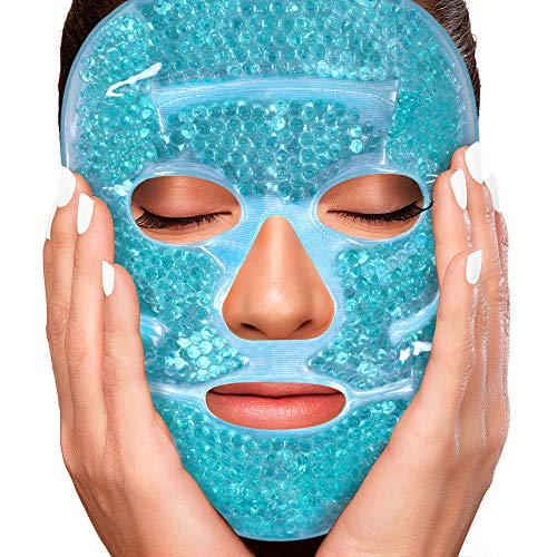 Sofida Cold Hot Gel Face Eye Mask - Reduce Puffy Dark Circles Bags Under Eyes Migraines Stress Relief - Heat Ice Therapy Pack Compress - Sinus Pressure Acne Headaches Relaxation (Blue)