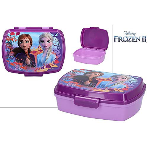 Hogar y Mas Sandwichera Infantil de Plástico Duro, Reutilizable para Niños de Frozen II. Productos Disney 17,5x13,5x5,5 cm