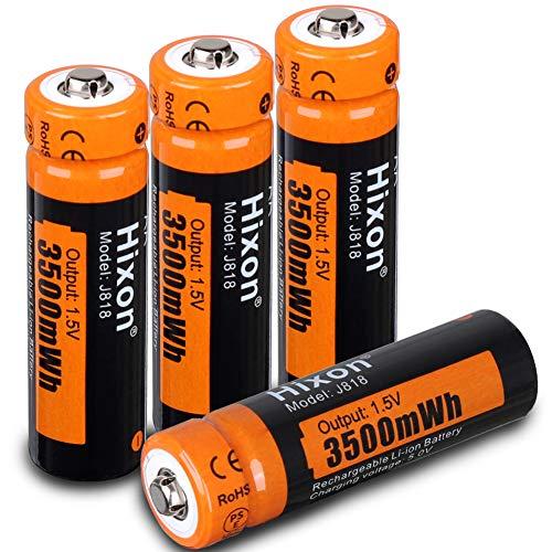 Hixon Akku AA wiederaufladbare Li-Ion Batterien 1,5 V 3500 mWh für Xbox Controller Spielzeug Fernbedienung, Set mit 4 Batterien