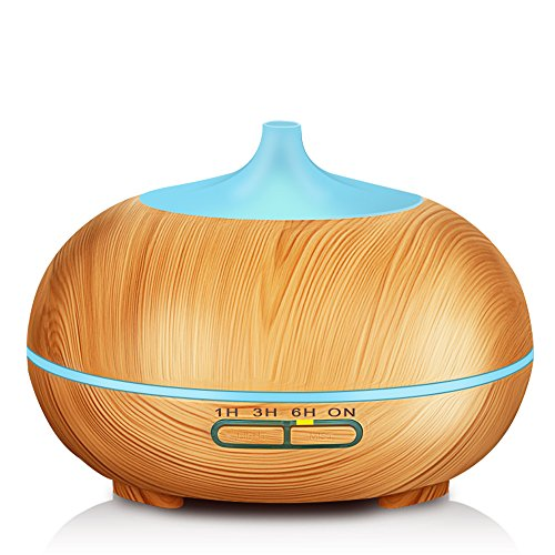 KBAYBO 400ml Aroma Diffuser, Wood Grain Ultrasonic Cool Mist Humidifier Essential Oil Diffuser for Office Home Bedroom Living Room Study Yoga Spa
