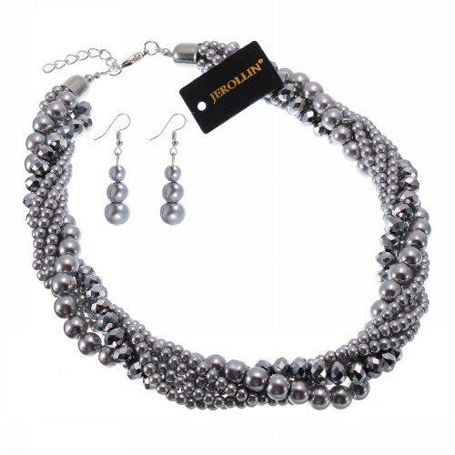 Jerollin - Girocollo con orecchini, con perle e cristallo e Fede, colore: grigio, cod. SJ217350
