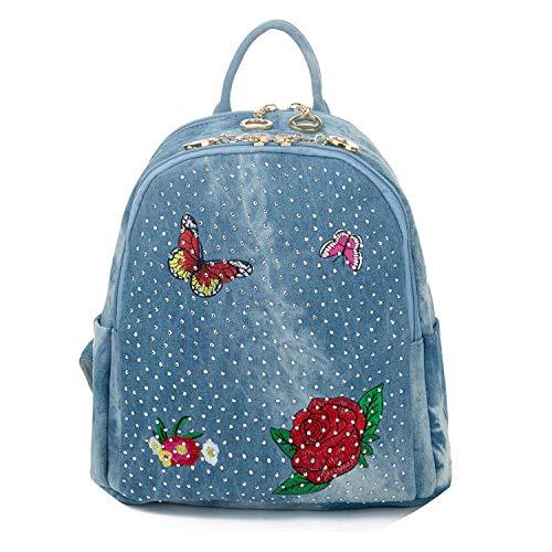 aliennoun bag Mochila de tela vaquera con bordado floral para mujer, vaqueros, mochila de viaje para mujer