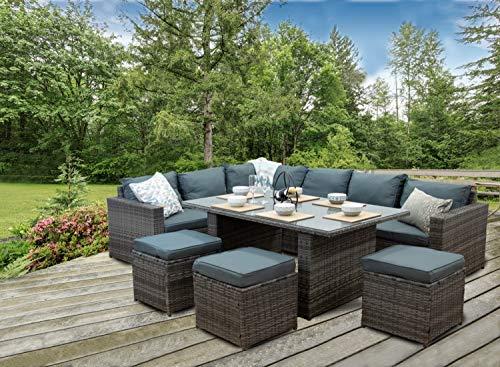 'CasaRattan' Grey Rattan Corner Sofa Outdoor Patio Garden Furniture Dining Set