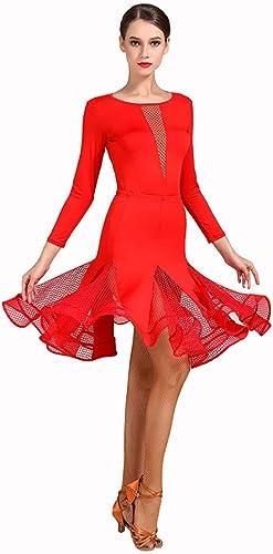 Robes De Danse pour Femmes Perforhommece Lace Splicing Lace Splicing , Jupe Encolure en V Jupe en Fishbone Creuse Coupe Ajustée (Couleur   rouge, Taille   XL)