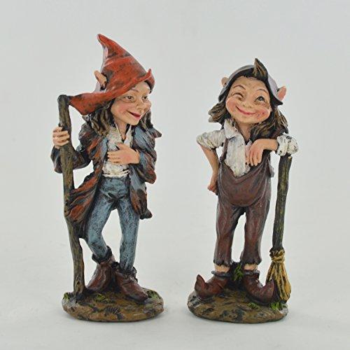 Prezents.com Sculpture fantaisie en forme de couple d'elfes de jardin debout pour lutin de fée 11 cm de hauteur