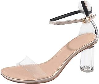 4f6c722f Verano Zapatillas de Mujer Una Palabra con Sandalias de tacón Gruesas  Transparentes Zapatos de tacón Alto