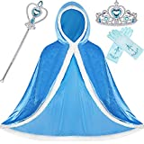 SATINIOR 4 Pieces Fur Princess Hooded Cape Cloaks Costume for Girls Princess Costumes Party Accessories (Blue, 6-7 Years, Height 51 Inch/ 130 cm)