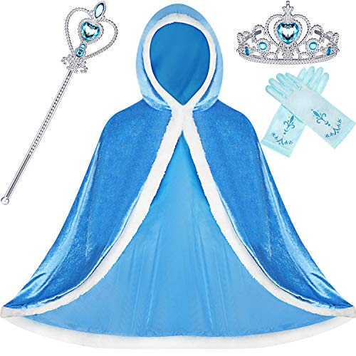 SATINIOR 4 Pieces Fur Princess Hooded Cape Cloaks Costume for Girls Princess Costumes Party Accessories (Blue, 3-4 Years, Height 43 Inch/ 110 cm)
