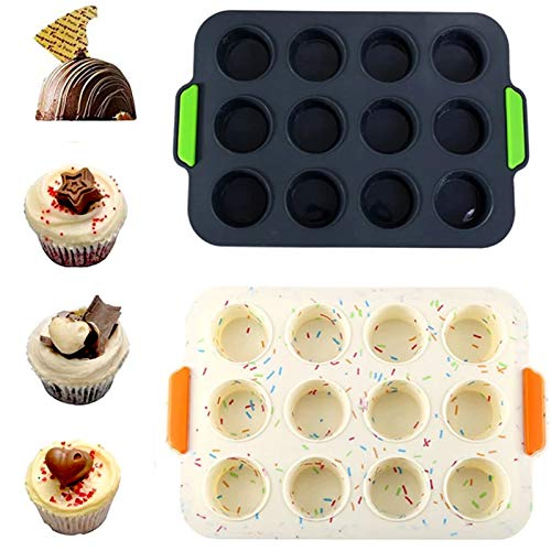 YYR 12 Holes Silicone Mold, 2 Packs Baking Mold Extra Large Round Shape Candy Molds Non Stickwith Non-Slip Handle, BPA Free Cupcake Baking Pan for Making Hot Chocolate Bomb