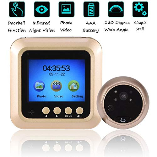 ASHATA 2.4' LCD Mirilla de Puerta,con Gran Angular de 160 °,Vídeo Cámara de Día y Noche para Seguridad del Hogar,FIFO,Dejar Mensaje de Video,Apoyo Tarjeta TF,3 Modos Timbre,Volumen Ajustable