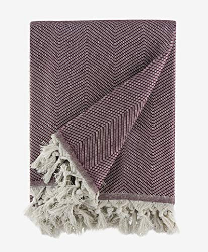 BOHORIA® Premium Tagesdecke Tulum - Bettüberwurf Wohndecke Wendedecke Kuscheldecke Sofadecke mit Muster   extra-groß 170 x 230 cm (Mahogany)