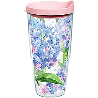 Tervis 1145101 Hydrangea Tumbler with Wrap and Pink Lid 24oz, Clear