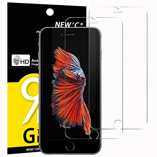 NEW\'C PanzerglasFolie Schutzfolie für iPhone 6s, für iPhone 6, [2 Stück] Frei von Kratzern Fingabdrücken und Öl, 9H Härte, HD Displayschutzfolie, 0.33mm Ultra-klar, kompatibel iPhone 6s, 6