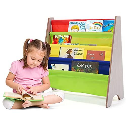 COSTWAY Kinder Bücherregal mit 4 Ablagefächern, Hängefächerregal Holz, Büchergestell, Zeitungsständer für Kinderzimmer (Natur)