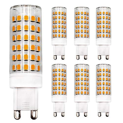 Bombilla LED G9 regulable, 9 W, equivalente a 80 W, luz blanca cálida, 3000 K, 220 V-240 V CA, cerámica, G9, 9.00W 220.00V